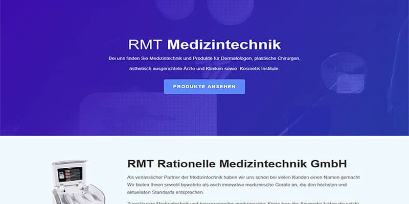 Website RMT Medizintechnik