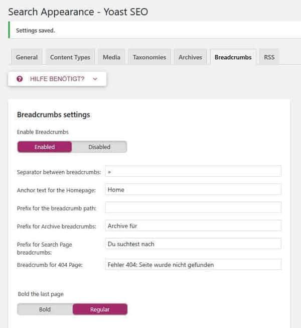 JoeWP WordPress Agency - Implement Breadcrumbs - Yoast SEO