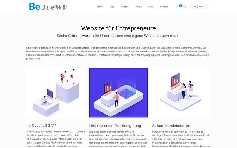 JoeWP - WordPress Agentur - Entrepreneur Website