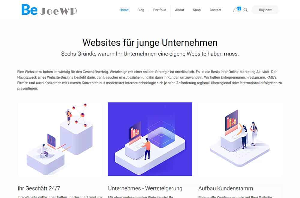 JoeWP WordPress Agentur - Verkauf Entrepreneur Website