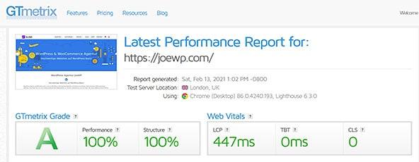 JoeWP WordPress Agentur - Performance Test GTMetrix